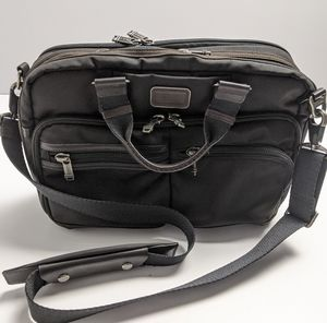 Tumi Messenger Bag Black Brown w Leather